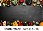 frame of organic food. fresh... | Shutterstock . vector #506516848