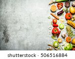 organic food. fresh slices of... | Shutterstock . vector #506516884