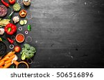 big set organic food. fresh raw ... | Shutterstock . vector #506516896