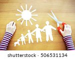 Small photo of Little girl fantasizing about amicable large family. Conceptual image with paper scrapbooking