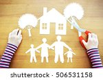 Small photo of Little girl dreaming about amicable and large family. Conceptual image with paper scrapbooking