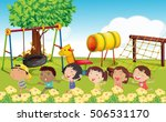 many children playing in the... | Shutterstock .eps vector #506531170
