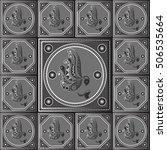 maya art boho pattern with owl. ... | Shutterstock . vector #506535664