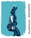 message in bottle. octopus... | Shutterstock .eps vector #506536090