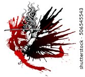 samurai girl with wings of blood   Shutterstock .eps vector #506545543