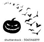 pumpkin and bats | Shutterstock .eps vector #506546899