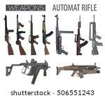 firearm set. automatic rifle ... | Shutterstock .eps vector #506551243
