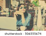young business woman sitting in ... | Shutterstock . vector #506555674