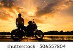 silhouette biker with his... | Shutterstock . vector #506557804