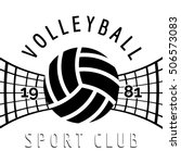 black and white volleyball... | Shutterstock .eps vector #506573083