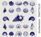 sketch of sea shells vector... | Shutterstock .eps vector #506573110