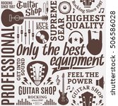 typographic vector guitar shop... | Shutterstock .eps vector #506586028
