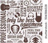 typographic vector guitar shop... | Shutterstock .eps vector #506586028