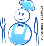 happy chef with fork and knife | Shutterstock .eps vector #50659108