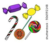 a variety of colorful candies | Shutterstock . vector #506592148