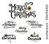 merry christmas lettering... | Shutterstock .eps vector #506596420