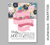 wedding invitation or card with ... | Shutterstock .eps vector #506597530