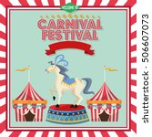 striped tent and horse of... | Shutterstock .eps vector #506607073
