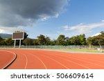 tracks and big scoreboard in... | Shutterstock . vector #506609614