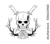 skull with branches tattoo art... | Shutterstock .eps vector #506610460