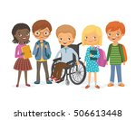 disabled child in a wheelchair... | Shutterstock .eps vector #506613448