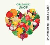 heart shape by organic fresh... | Shutterstock .eps vector #506634364