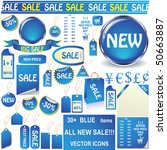 blue price tags  stickers ... | Shutterstock .eps vector #50663887