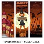 halloween orange banners set...   Shutterstock .eps vector #506642266