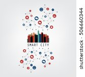 colorful smart city design... | Shutterstock .eps vector #506660344