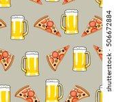 seamless pattern mug of beer... | Shutterstock .eps vector #506672884
