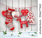 group of hanging christmas... | Shutterstock .eps vector #506677363