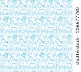 seamless pattern with icons of... | Shutterstock .eps vector #506677780