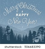 merry christmas lettering and... | Shutterstock .eps vector #506683390
