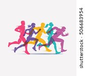running people set of... | Shutterstock .eps vector #506683954