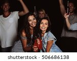 happy friends with alcohol... | Shutterstock . vector #506686138