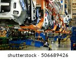 car production line  body frame ... | Shutterstock . vector #506689426
