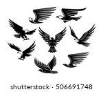 set of black stylized birds.... | Shutterstock .eps vector #506691748