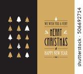 merry christmas type gold black ... | Shutterstock .eps vector #506692714