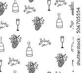 wine black line seamless... | Shutterstock .eps vector #506705554