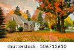 quiet village street in autumn... | Shutterstock . vector #506712610