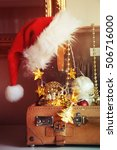 vintage luggage with christmas... | Shutterstock . vector #506716000