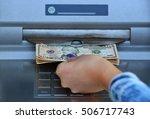 woman hand withdrawing money... | Shutterstock . vector #506717743