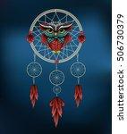 owl in dreamcatcher. vector...   Shutterstock .eps vector #506730379