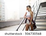 casual young woman upstairs... | Shutterstock . vector #506730568