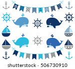 nautical boy design elements in ... | Shutterstock .eps vector #506730910
