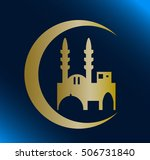 mosque silhouette on blue... | Shutterstock .eps vector #506731840