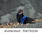young homeless boy sleeping on...   Shutterstock . vector #506732236