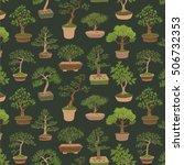 bonsai tree vector pattern | Shutterstock .eps vector #506732353