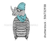 hipster rhino dressed up in... | Shutterstock .eps vector #506732938