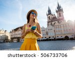 young woman in yellow walking... | Shutterstock . vector #506733706